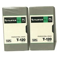 2 NEW SEALED Blank Fuji Film PG T-120 6 hrs Professional Grade VHS Tape For VCRs