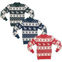Boys Girls Kids Christmas Jumper Reindeer Sweater Xmas Sweatshirt Top