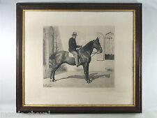 GRANDE GRAVURE EAU FORTE encadrée, E. van Muyden, 1890, hommme à cheval, Suisse