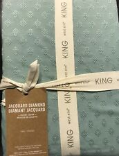 West Elm Jacquard Diamond King Duvet Cover In Light Pool/light Green Color