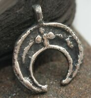 Ancient Solid Silver Neck Pendant Moon Shaped ''Lunula''
