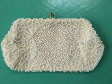 Walborg Vintage Ivory Beaded Clutch Made In Belgium By Hand Guc