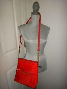 MICHAEL KORS Morgan MK Cross-body Messenger Bag Red DK Sangria Nylon 38S9COGM2C