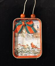 Handmade Ooak Male and Female Cardinals Double Sided Christmas Ornament