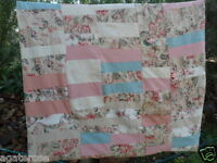 Antique vintage patchwork bed quilt cover pink cream and shabby floral material