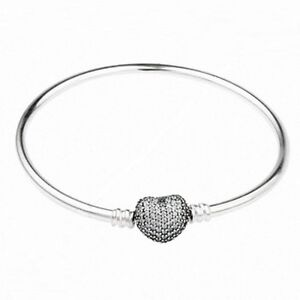 Engraved 21cm  925 Silver With Large Pave Heart Cubic Zirconia Charm Bracelet