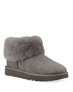 UGG  CLASSIC MINI FLUFF BOOTIES~ CHARCOAL GRAY  ~ SIZE 5 NEW