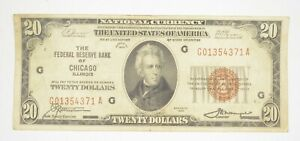 Rare 1929 $20 National Currency Chicago, IL Federal Reserve Bank Brown Seal *910