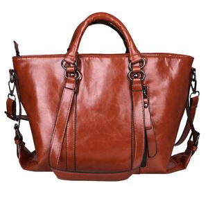 Women ladies Oiled Soft Leather handbag shoulder Briefcase Purse Messenger Bag