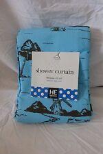 "He HomEtceteras Blue & Brown Fabric Shower Curtain 72"" x 72"" Nip"