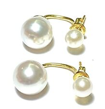 Superb Akoya 5.2 & Australian South Sea 9mm Natural White Round Pearl Earrings