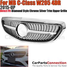 Front Radiator Grille 2015-2017 W205 Diamond Style Luxury Bumper Insert C-Class