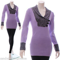 New Jumper Dress Style V Neck Cute Long Knitted Top  Size 8 10 12 14 16