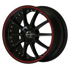 "ULTRALITE SPEC 17"" x 7J ET42 4x114.3 4x100 BLACK & RED ALLOY WHEELS RIMS Y0333"