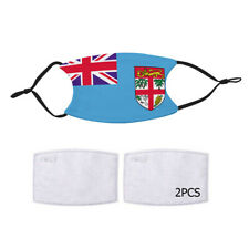 Reusable Face Mask 2 Filters Fiji Fijian Flag Country Pride Patriotic National