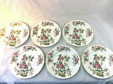 "Wedgwood Charnwood Set 6 Dinner Plates 10.75""Blk Stamp 3984 Butterfly Bee Insect"
