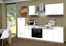 Küchenzeile Classic Weiss KF GS 270cm, Sonoma Nb., incl.E-Geräte, Geschirrspüler
