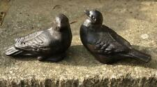 Pair Cast Iron Love Birds Garden Ornament Statue Metal Cool Sitting 9cmx13cm New