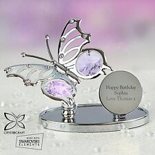 Personalised Crystocraft Butterfly Ornament Engraved Message Birthday Gift New