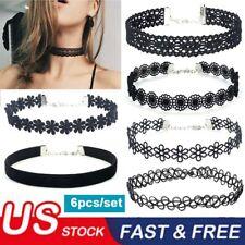 6pcs/set Gothic Choker Tattoo Necklace Stretch Henna Elastic Set for Women Girls