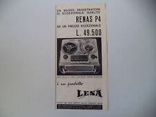 advertising Pubblicità 1964 REGISTRATORE LESA RENAS P4