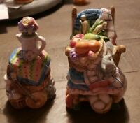 Vintage Salt And Pepper Shakers. Rocking Chair And Barrel. 4 In Tall.