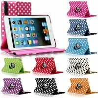 3D Fashion Dots Leather 360° Rotating Stand Case Cover For iPad 2/3/4 UK seller