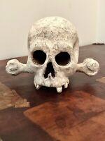 Antique 18th Century Wood Skull With Bones - Memento Mori - Austrian