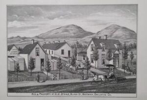 Orig 1885 H.H. Stone Property & Residence Print Bozeman Mt Montana Territory