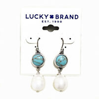 Lucky Brand Antiqued Silver Tone Turquoise Set Stone Pearl Drop Earrings