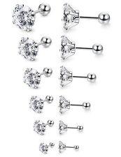 3-8MM Women Men Silver Stainless Steel White Round Cubic Zirconia Stud Earrings