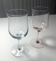 2 Vintage Mid Century Modern Tinted Glasses one pink, one blue Exc Condition!