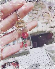 Collana Rosa in boccetta Bella e la Bestia Belle Rose Cute Necklace Fimo Clay
