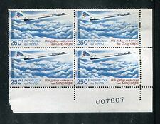 Chad C195 MNH Aviation Airplane block of four 1976 250fr Concorde x16230