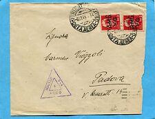 1947 TRIESTE £.2 LUOGOT.AMG VG COPPIA - TRIESTE C.P./(POSTA AEREA-ORD.) (222049)