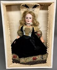 """Rare 9-1/2"""" Jumeau 221 Great Lady in Box Cabinet Doll Bisque-Head French Antique"""