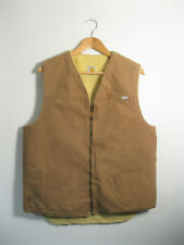 CARHARTT | Men's Duck Brown Canvas SHERPA LINED Gilet Vest Bodywarmer | Size L T