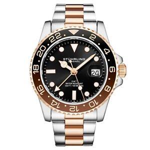 Stuhrling Aqua-Diver 3965 Swiss Quartz Men's Silver Bracelet Black Dial Watch