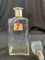 Vintage Seagram's 7 Embossed Crown Glass Decanter Bottle 1960s??