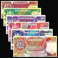 Uganda 1987-94 >  5/ 10/ 20/ 50/ 100/ 200 Shillings, Banknote set of 6 UNC