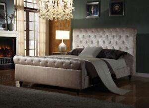NEW 4FT6 DOUBLE CHESTERFIELD SLEIGH BED WITH LUXURY POCKET MEMORY MATTRESS