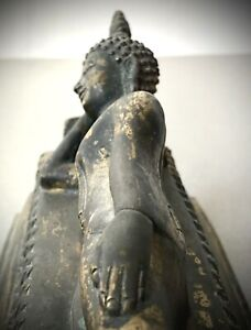 ANTIQUE THAI BUDDHA, RECLINING / SLEEPING. GILDED BRONZE. PARINIRVANA. S.E ASIA
