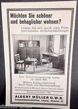 schöner wohnen,Truhen Möbel Werkstätten,A.Müller,Leipzig,orig.Anzeige 1928
