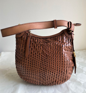 Cole Haan Tan Brown Woven LEATHER Hobo Shoulder Bag Purse Small