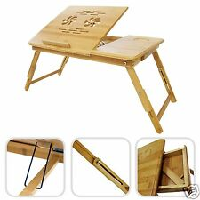 Table Auxiliary Bamboo Natural Reclining For Portable Bed Sofa Breakfast Drawer