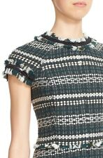 $395 Tory Burch Norfolk Sequin Trim Tweed A-Line Tunic Dress Forest Green 12 - L