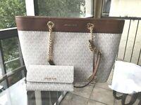 Michael Kors Large Leather Shoulder Tote Handbag Vanilla Bag + Trifold ID Wallet