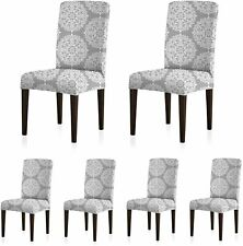 6pcs Stretch Dining Room Chair Covers, Slipcovers Medallion Style Spandex