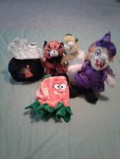 LOT /5 HALLOWEEN TOY FIGURES: CAT WITCH BART SIMPSON 2 PUMPKIN COVERS W/ GHOSTS