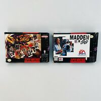 2 Game SNES Lot-MADDEN 96, & Boxing Legends of the Ring- Tested - Fast Shipping